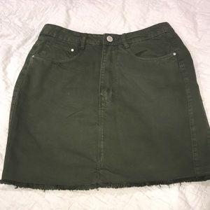 Green denim skirt